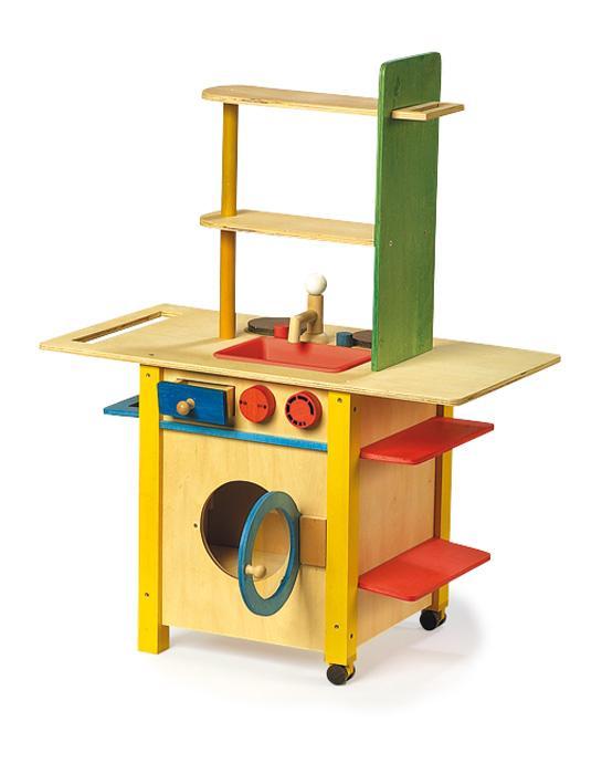 Mini Keuken Kinder : Een complete houten kinderkeuken met een wasmachine.In een mooie gele